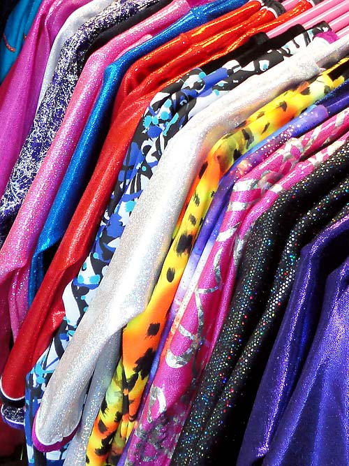 Lot of colours and styles of gymnastic leotards.! Call 01494 727211.