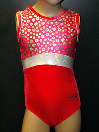 Sleeveless red and white poppy flowers Zone leotard for gymnastics, disco and dance.