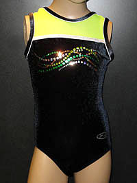 Sleeveless flourescent yellow and black velour zone gymnastic leotard for gymnastics, disco and dance.