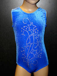 Sleeveless royal blue velour leotard with diamante for modern dance, gymnastics and disco.