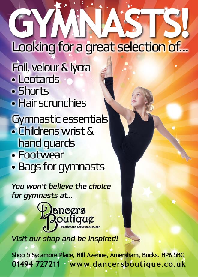 Looking for a great selection of... foil, velour and lycra Leotards, Shorts and Hair scrunchies. Or, gymnastic essentials like Childrens Wrist and Hand Guards, Footwear and Bags for gymnasts? You won't believe the chhoice for gymnasts at Dancers Boutique. Visit our shop and be inspired!