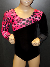 Childrens animal leopard print leotard for young dancers and gymnastics.