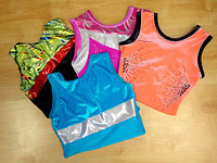 Discounted gymnastic and freestyle leotards featuring bright colours in our leotard sale.