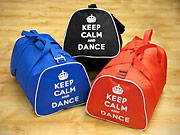 keep Calm and Dance dance bags in red, black and blue