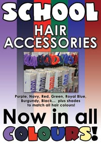 School colours hair accesories in Purple, Navy, Red, Green, Royal Blue, Burgundy, Black...  plus shades to match all hair colours like Blonde, Brunette and Dark!