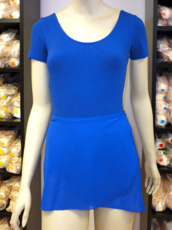 short sleeved leotards for adults, blue leotard, chiffon skirts for adults.