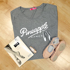 Pineapple dance tops, split sole ballet shoes, convertible tights, adult dance tights.
