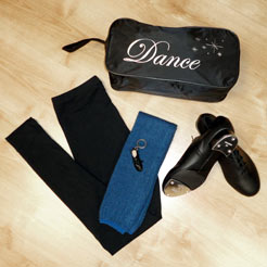 bags for tap shoes, tap shoes, dance leggings, adult legwarmers.