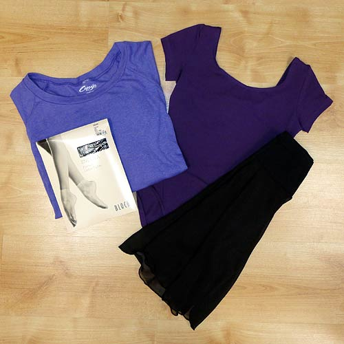 adult leotards, footless dance tights, dance skirts for adults.