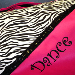 Funky dance bags with animal print patterns.