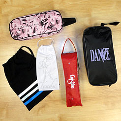 A selection of dance bags for shoes.