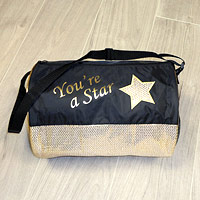 Black with Gold Sequins duffle dance bag featuring 'You're a Star' writing.