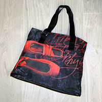 Shopper style shoulder Dance Bag with a red pointe shoe image design.
