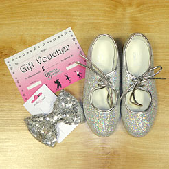 Gifts for Dancers UK Shop Local for Silver tap shoes, glitter tap shoes, glitter hair bows, sparkly hair accessories