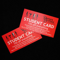 15 percent off dance student discount card to use at Dancers Boutique.