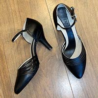 Ladies closed toe ballroom shoes and salsa shoes.