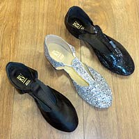 Practice shoes and dance shoes available in many colours.