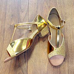 Childrens ballroom and latin shoe in gold.