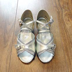 Childrens ballroom and latin shoe in silver.