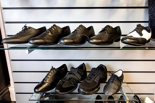 A wide variety of fashionable mens dance shoes in a range of sizes and width fittings are available at Dancers Boutique.