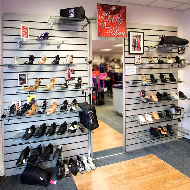 An exciting range of stylish womens ballroom shoes in different heel heights are available at Dancers Boutique.