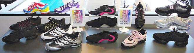 A fantastic range of dance shoes for zumba, jazzercise as well as all dance and exercise classes, available at Dancers Boutique.
